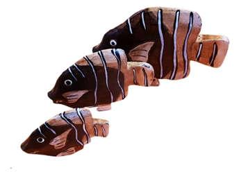 Immagine di Set 3 pesci in legno 8-11-14cm