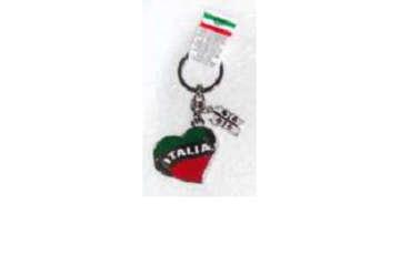 Immagine di Portachiavi metallo Italia Cuore + Sardegna 4Mori