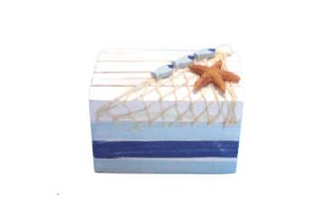 Immagine di Scatola in legno con rete e stella marina 11x10.5cm