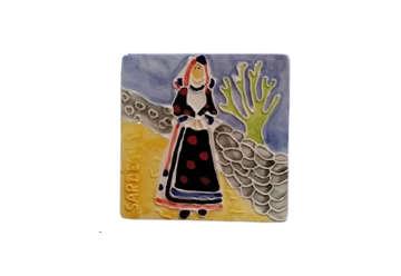 Immagine di Mattonella ceramica donna Sardegna
