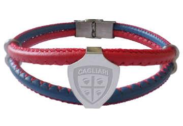 Immagine di Bracciale 2 fili rosso blu in pelle con crest Cagliari 1920