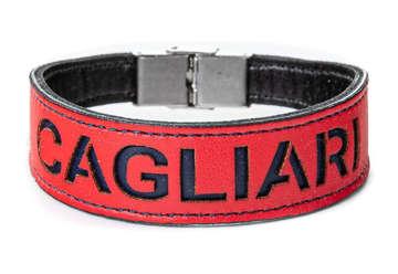 Immagine di Bracciale in pelle rosso con interno blu e font Cagliari 1920