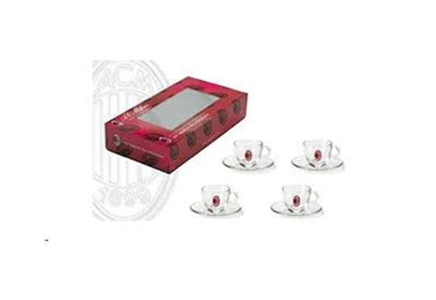 Immagine di Set 4 tazzine in vetro con piattini Milan