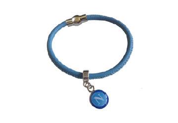 Immagine di Bracciale azzuro con medaglietta Napoli
