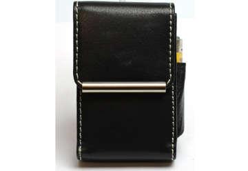 Immagine di Portapacchetto/portaccendino in pelle black
