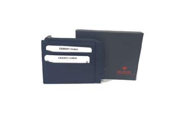 Immagine di Porta carte di credito 7 posti c/zip in pelle blu navy