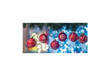 Immagine di Pallina Natale rossa decori bianchi in expo 20pz