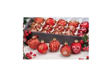 Immagine di Pallina Natale rossa decori oro in expo 20pz