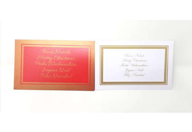 Immagine di Set busta e cartoncino Buon Natale in 5 Lingue  Bianco e Rosso
