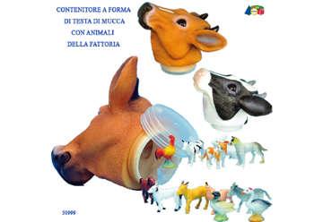 Immagine di Testa mucca contenitore con mini animali