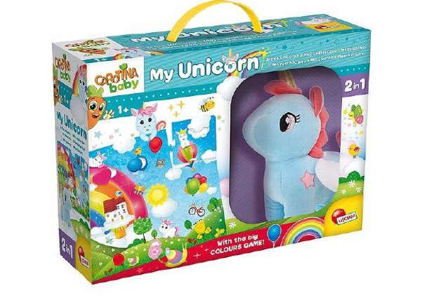 Immagine di Carotina baby Unicorno peluche con mega puzzle