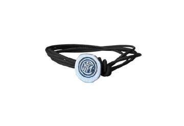 Immagine di Bracciale Inter in fili di cuoio nero e chiusura cappio