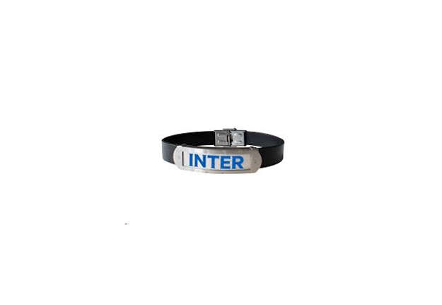 Immagine di Bracciale Inter in cuoio e piastra acciaio