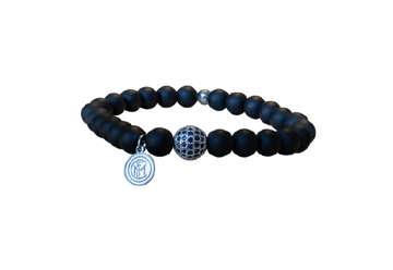 Immagine di Bracciale Inter in pietre dure nere- zirconi e logo