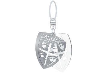 Immagine di Portachiavi in acciaio traforato + plex inciso Cagliari 1920