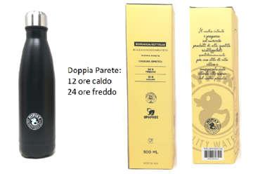"""Immagine di Borraccia 500ml in acciaio inox """"plastic free"""" Nero in scatola"""