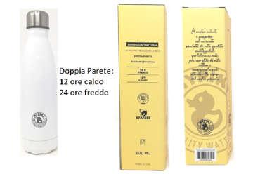 "Immagine di Borraccia 500ml in acciaio inox ""plastic free"" Bianca in scatola"