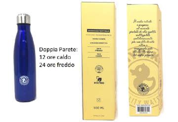 """Immagine di Borraccia 500ml in acciaio inox """"plastic free"""" Blu metallizzato in scatola"""