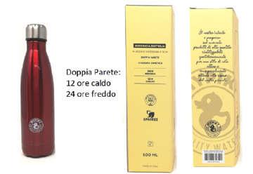 """Immagine di Borraccia 500ml in acciaio inox """"plastic free"""" Rosso metallizzato in scatola"""