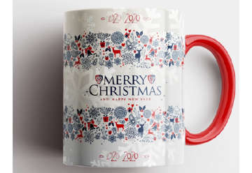 Immagine di Tazza mug Natale con manico rosso Cagliari 1920
