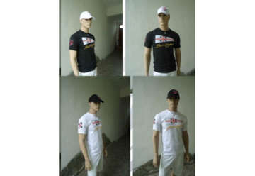 Immagine di T-shirt bianca 100% cotone con patch + ricamo Sardegna davanti tg.M