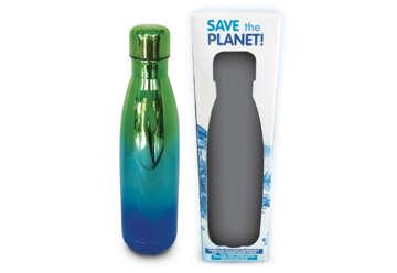 """Immagine di Borraccia in alluminio blu/verde """"Save the Planet"""" 500ml"""