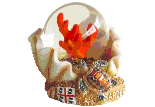 Immagine di Pallaneve vetro conchiglia + corallo Sardegna 4.5cm