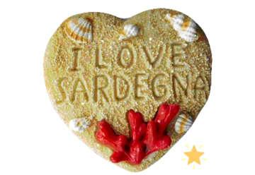 Immagine di Magnete resina Cuore sabbia Corallo Sardegna