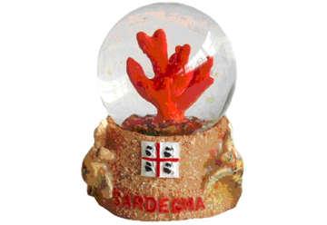 Immagine di Pallaneve vetro corallo + tartaruga Sardegna 4.5cm