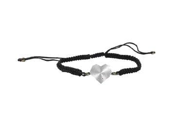 Immagine di Braccialetto nero con cuore acciaio e cristallo fucsia