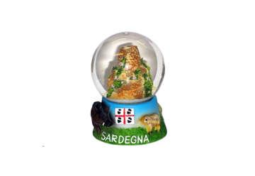 Immagine di Pallaneve vetro con nuraghe e cinghiali Sardegna