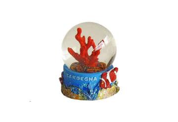 Immagine di Pallaneve in vetro con corallo Sardegna