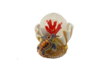 Immagine di Pallaneve vetro conchiglia + corallo Sardegna 5.5cm