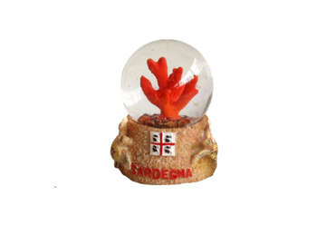 Immagine di Pallaneve vetro corallo + tartaruga Sardegna 6.5cm