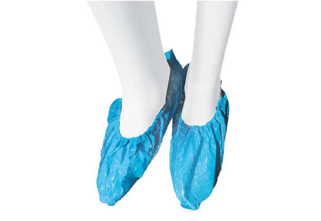 Immagine di Copriscarpa blu in polietilene, confezione 100pz