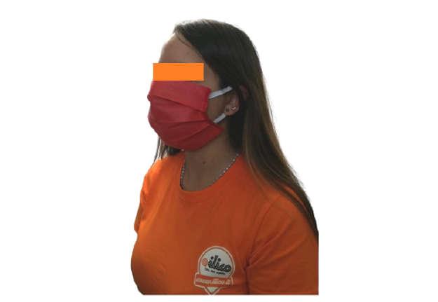 Immagine di Mascherina viso rossa in tnt polibond