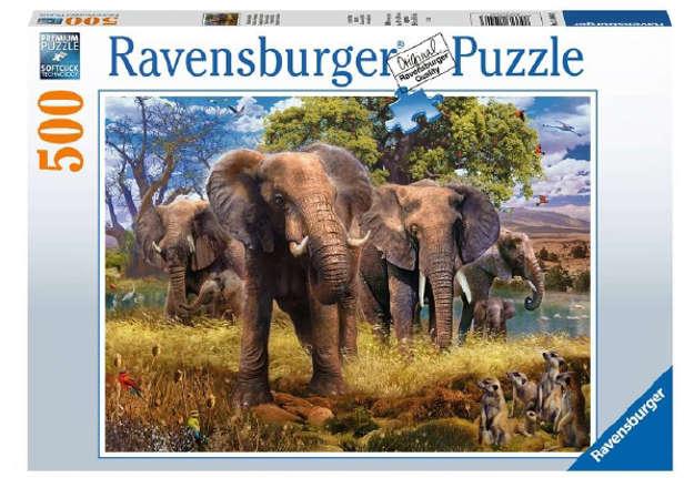 Immagine di Puzzle Famiglia di elefanti 500pz
