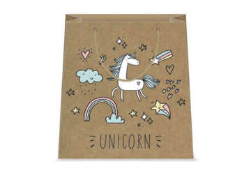 Immagine di Shopper unicorno kraft 26x32x12cm