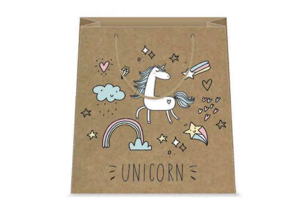 Immagine di Shopper unicorno kraft 26x32x12cm