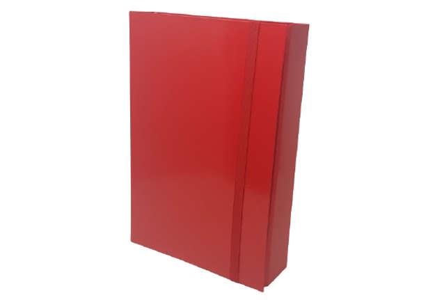Immagine di Raccoglitore 3 lembi dorso 7cm rosso con elastico