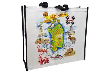 Immagine di Shopper borsa con zip Sardegna 45x40x15cm
