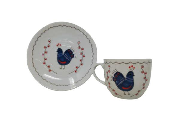 Immagine di Servizio 6 tazzine caffè con piattino in porcellana pavoncelle sarde