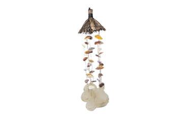 Immagine di Scacciapensieri cappello legno + rami conchiglie + placuna 65cm