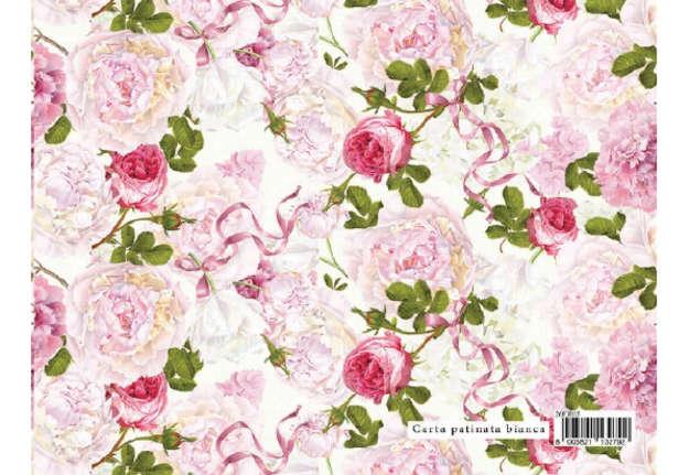 Immagine di Foglio carta regalo Flowers - Fiori e nastro 70x100