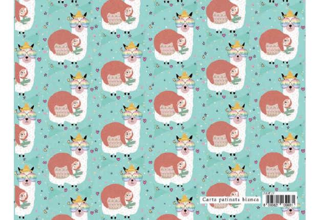 Immagine di Foglio carta regalo Design dolci chicche - Lama e bradipo 70x100