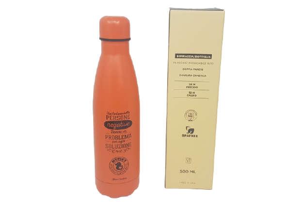 """Immagine di Borraccia 500ml in acciaio inox aforismi Arancio in scatola """"plastic free"""""""