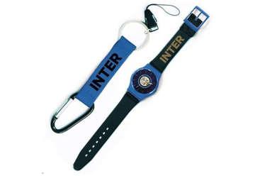 Immagine di Kit orologio e portachiave con moschettone Inter