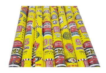 Immagine di Carta regalo in rotolo Cars gialla