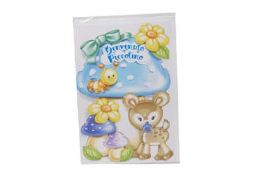 Immagine di Biglietto nascita bimbo cerbiatto