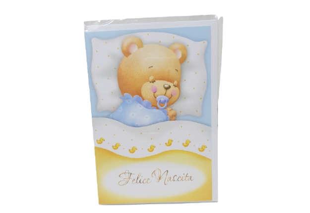 Immagine di Biglietto nascita bimbo orsetto